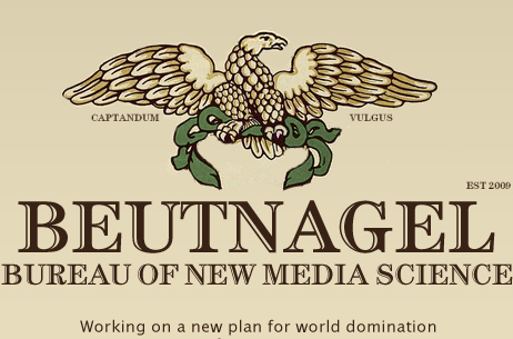 The logo for the Beutnagel Bureau is an eagle holding a green wreath. The bureau was established in 2009.